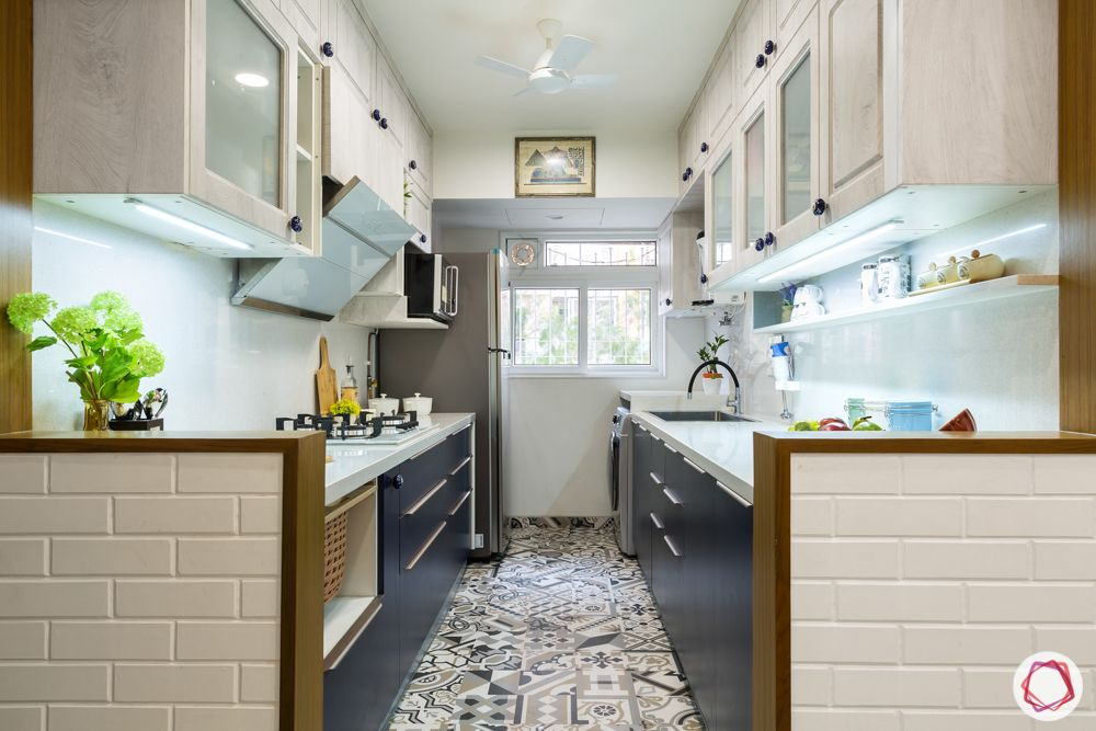 moroccan tiles flooring-white kitchen designs