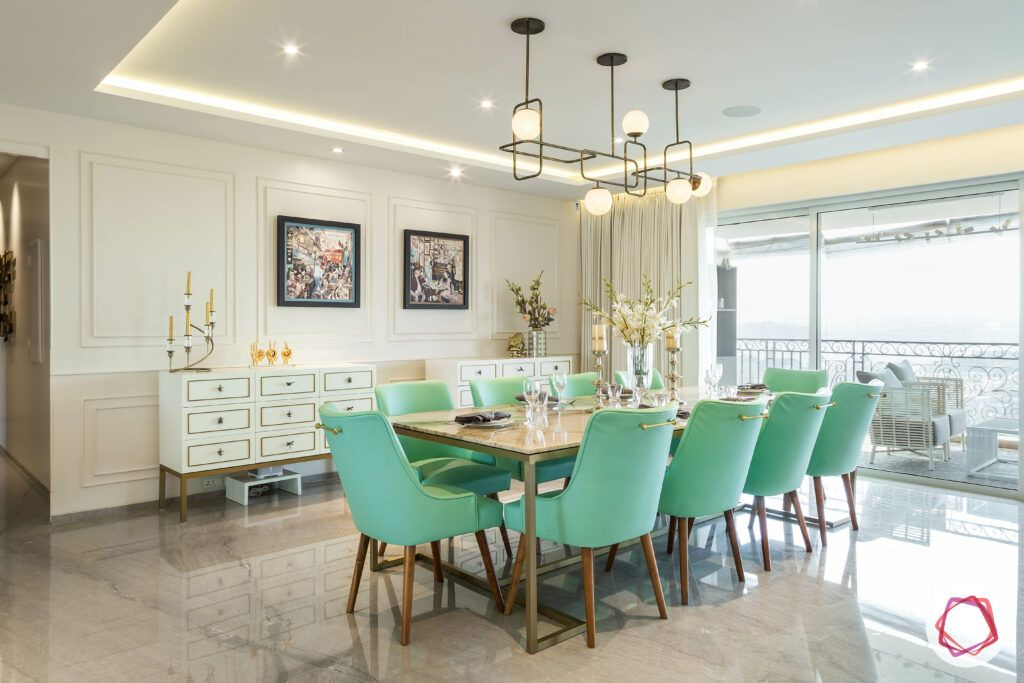 reen dining chairs-marble top table