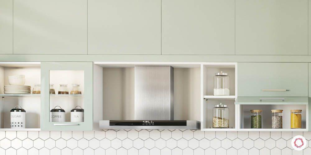 celebrity kitchen-kitchen layout-mint green cabinets-open shelf-wall cabinets