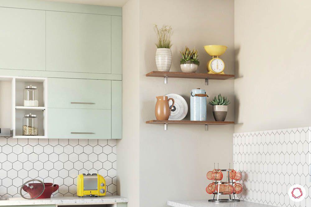 celebrity kitchen-mint green cabinets-fridge design-open shelf-wall cabinets-base cabinets-countertop