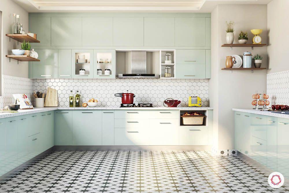 celebrity kitchen-kitchen layout-mint green cabinets-fridge design-open shelf-wall cabinets-base cabinets