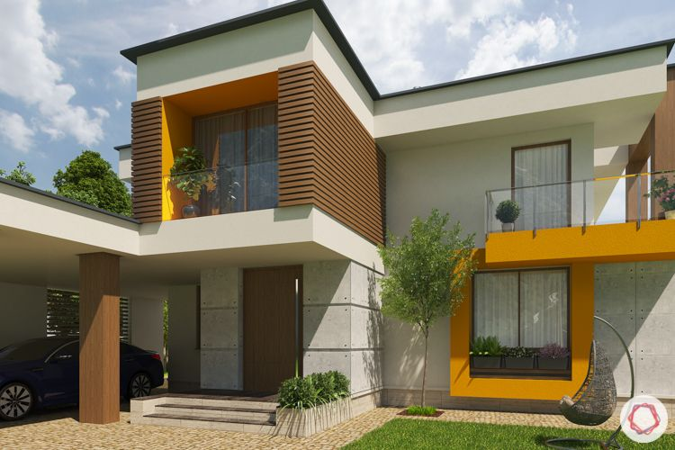 home construction-yellow house-exteriors