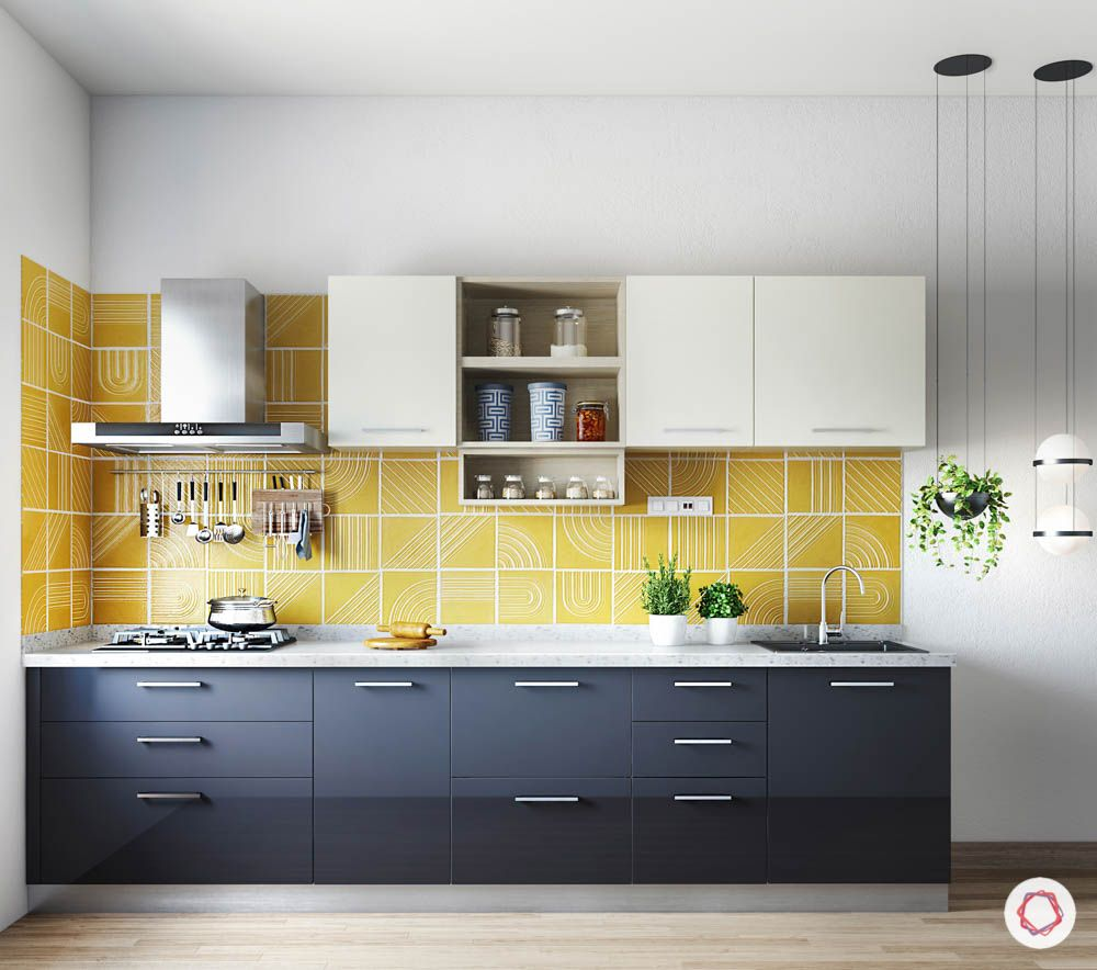 home construction-yellow backsplash-grey cabinets-yellow kitchen