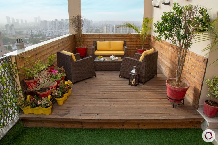 home construction-wooden deck-patio furniture