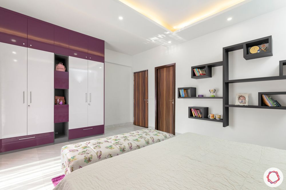 4 bhk home design-purple wardrobes-open shelf designs-false ceiling-purple carpet