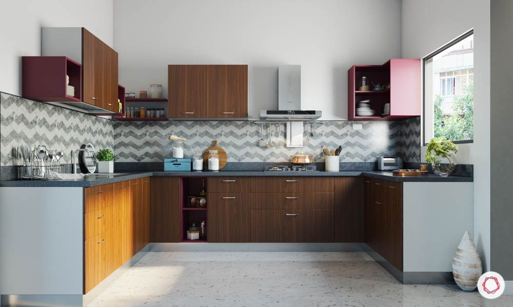accent-colors-for-brown-kitchens-maroon-open-units