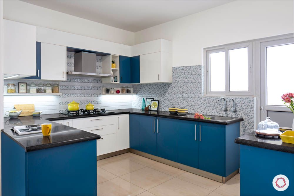 U Shaped Kitchen-blue and white