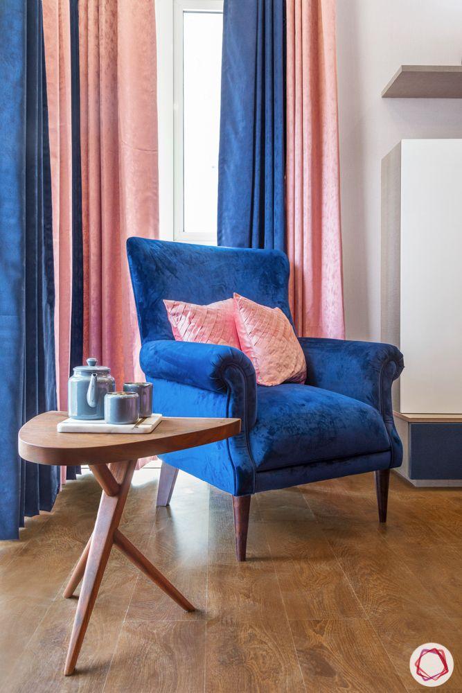 armchair designs-blue armchair-wooden coffee table