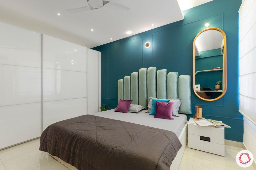 bedroom furniture-blue headboard designs-blue wall colour