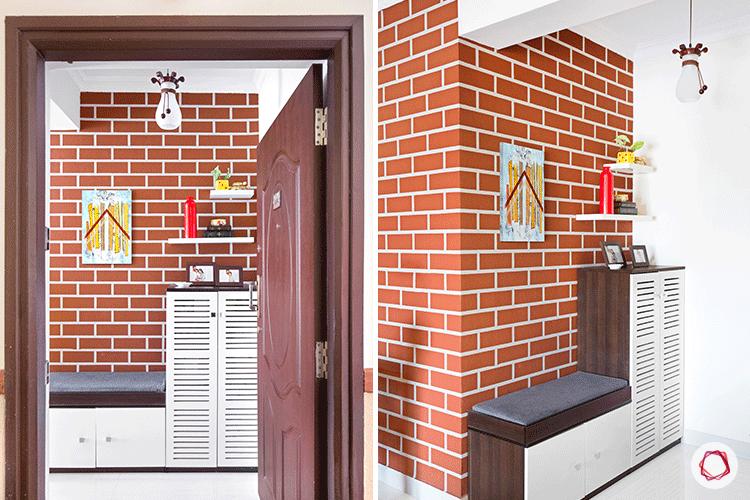 Entrance Wall Design-exposed brick wallpaper