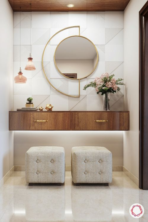 Entrance Wall Design-pouf-mirror-foyer design