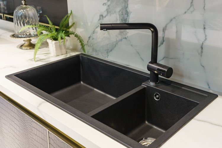 kitchen sink-double sink-tap-kitchen countertop