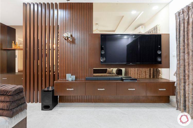 interior designers in hyderabad-veneer tv unit-wooden rafters