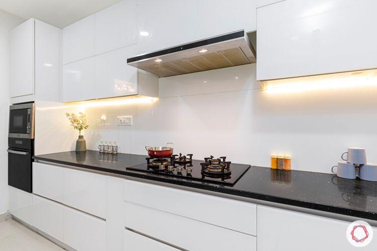 interior designers in hyderabad-white kitchen designs-profile lighting under cabinets
