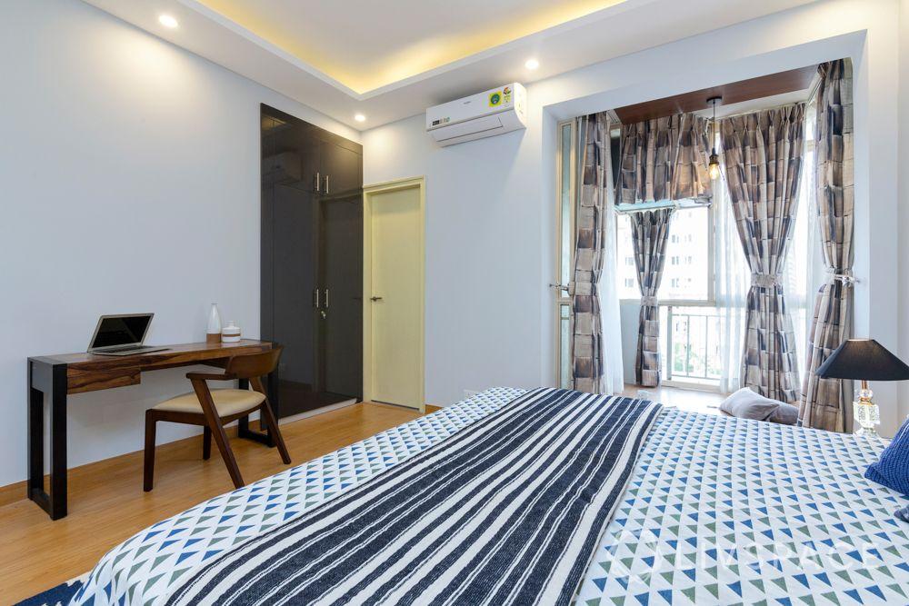 4 BHK flat design--laminate wardrobe-study table-balcony