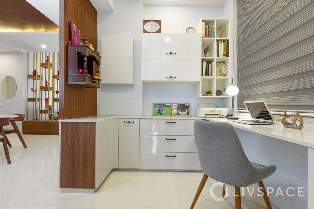 4 BHK Flat Design-workspace-glossy-fusion design-wooden pooja unit
