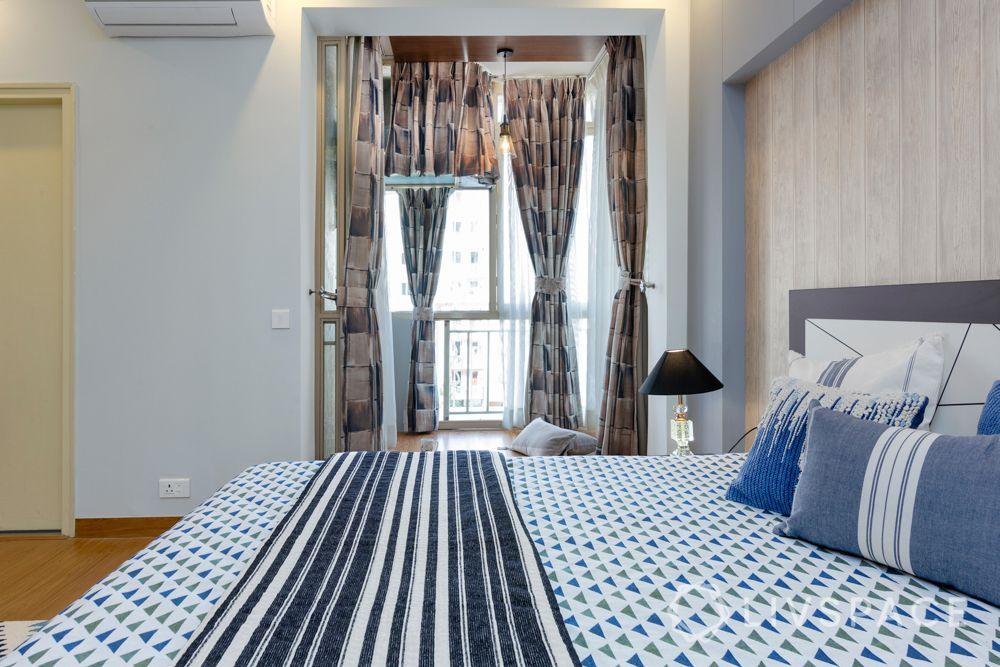 Son bedroom-wooden pattern wallpaper-headboard-cushions-rug-balcony-reading nook
