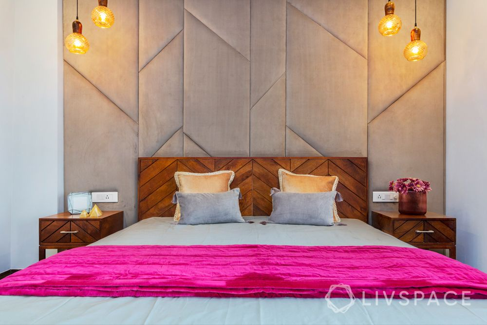 Wooden headboard-pendant lights-fabric panelling