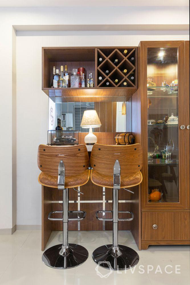 Laminate finish bar unit-wine cellar-high table