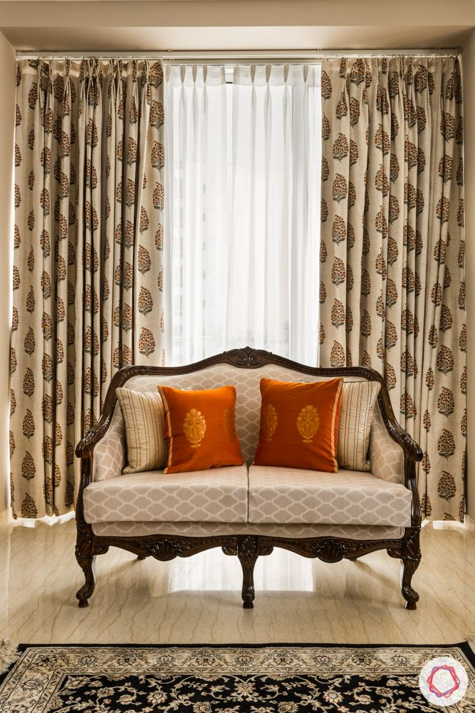 wooden sofa design-moroccan prints curtain
