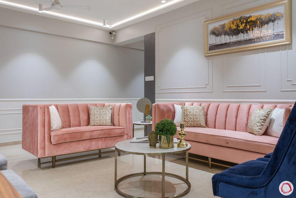 pink sofa design-wall moulding design