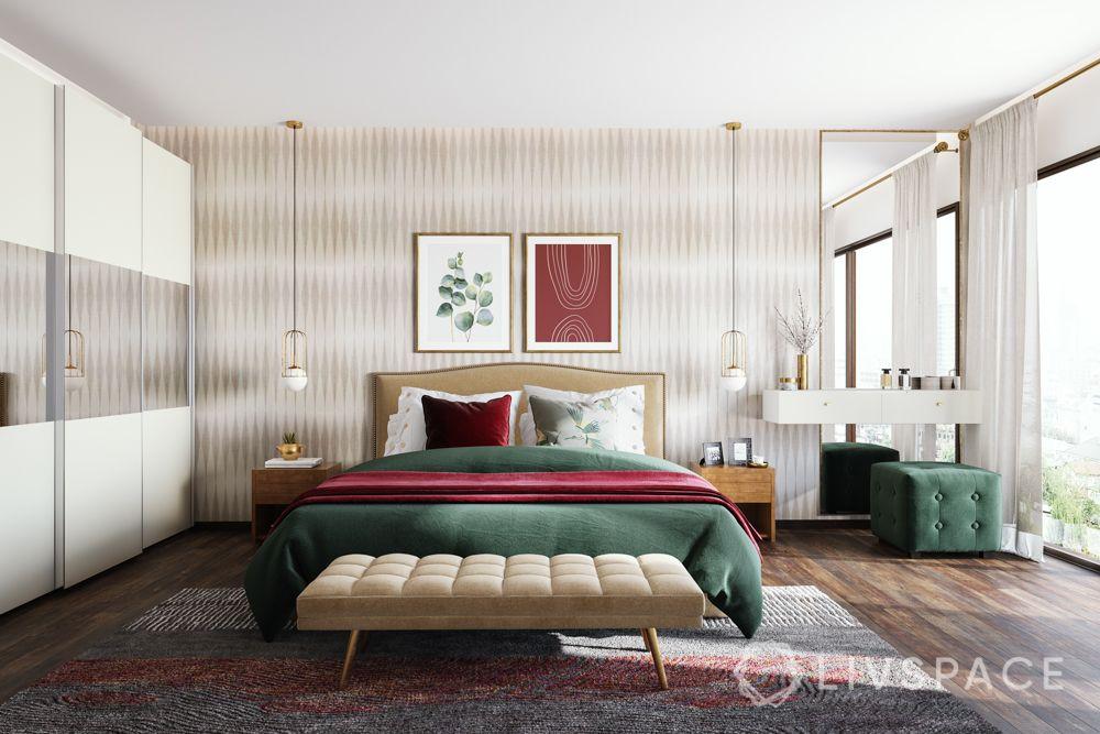 floor seating-bedroom bench-pendant lighting-sliding wardrobes