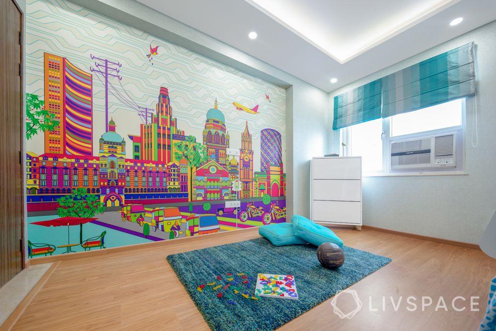floor seating-floor cushions-city wallpaper-play room