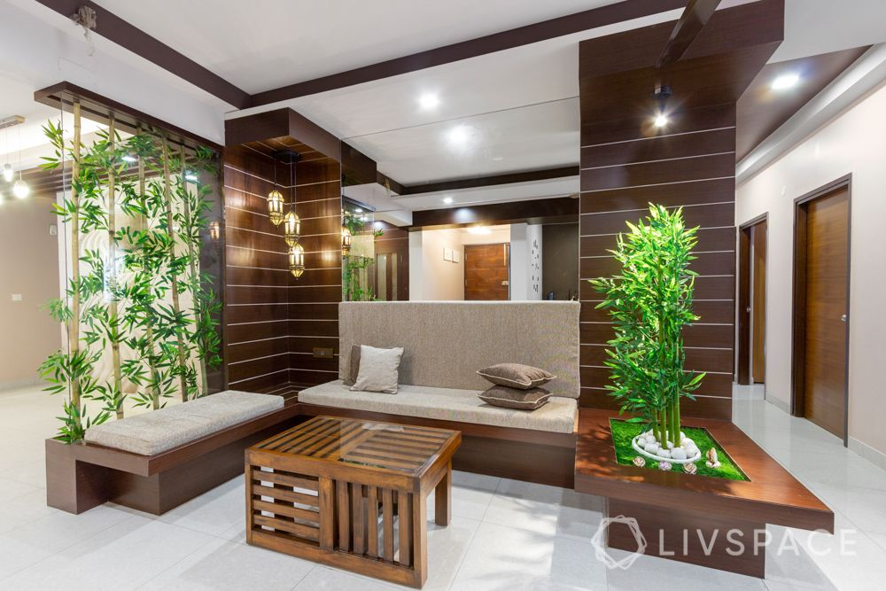 home-interior-designers-in-bangalore-prestige-bagamane-temple-bells-seating-planters