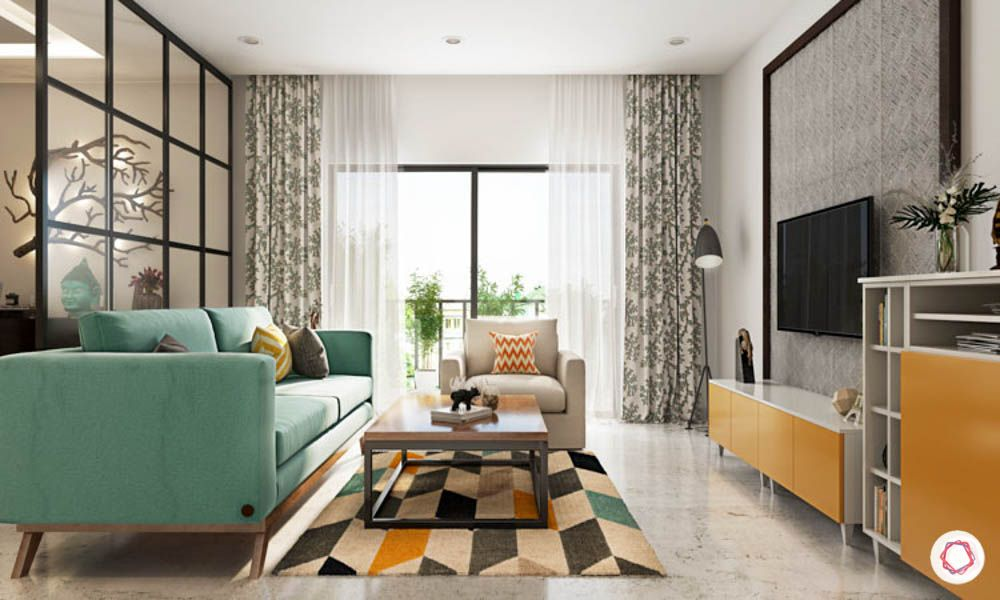 blue sofa-pattern rug-tv unit