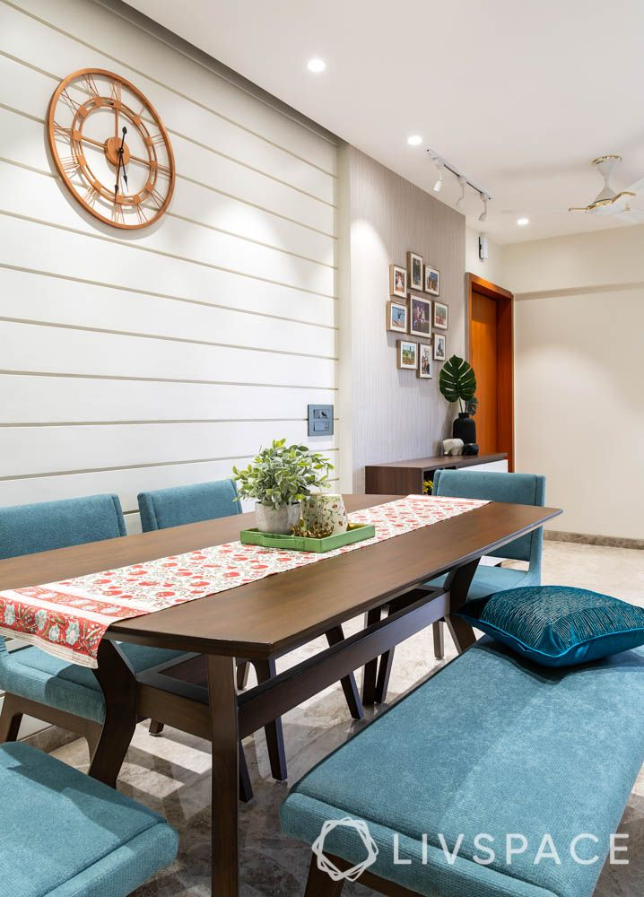 home decorating ideas on a budget-dining table bench-wall clock