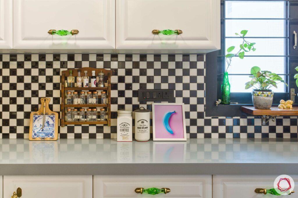 home decorating ideas on a budget-green handles-checkered backsplash