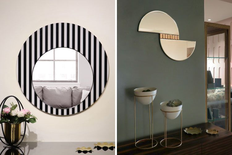 home decorating ideas on a budget-green wall-striped mirror-mirror mount