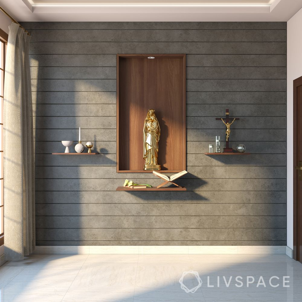 home altar design-grey wall paneling-wooden shelf designs