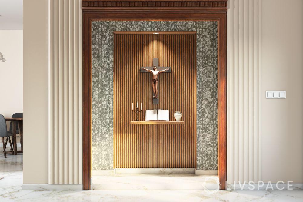 home altar design-wooden panelling designs-wall moulding designs