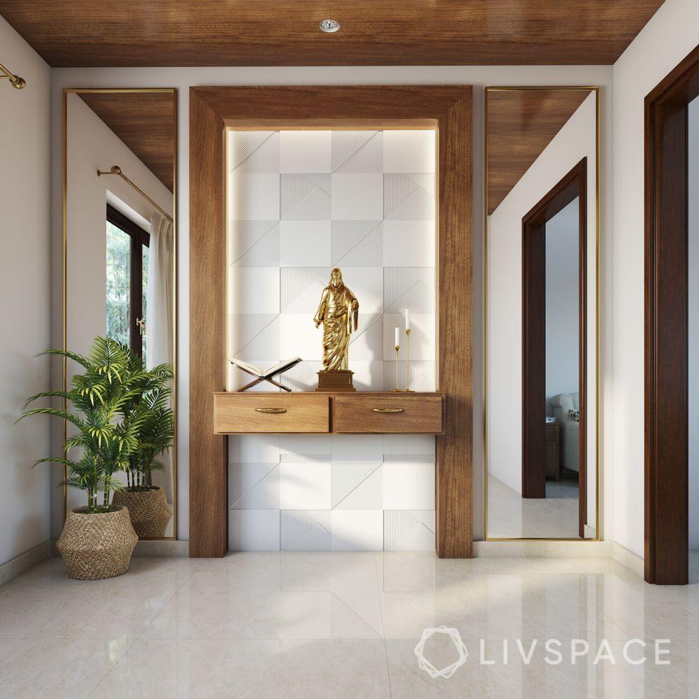 home altar design-backlit panel-wooden shelf designs