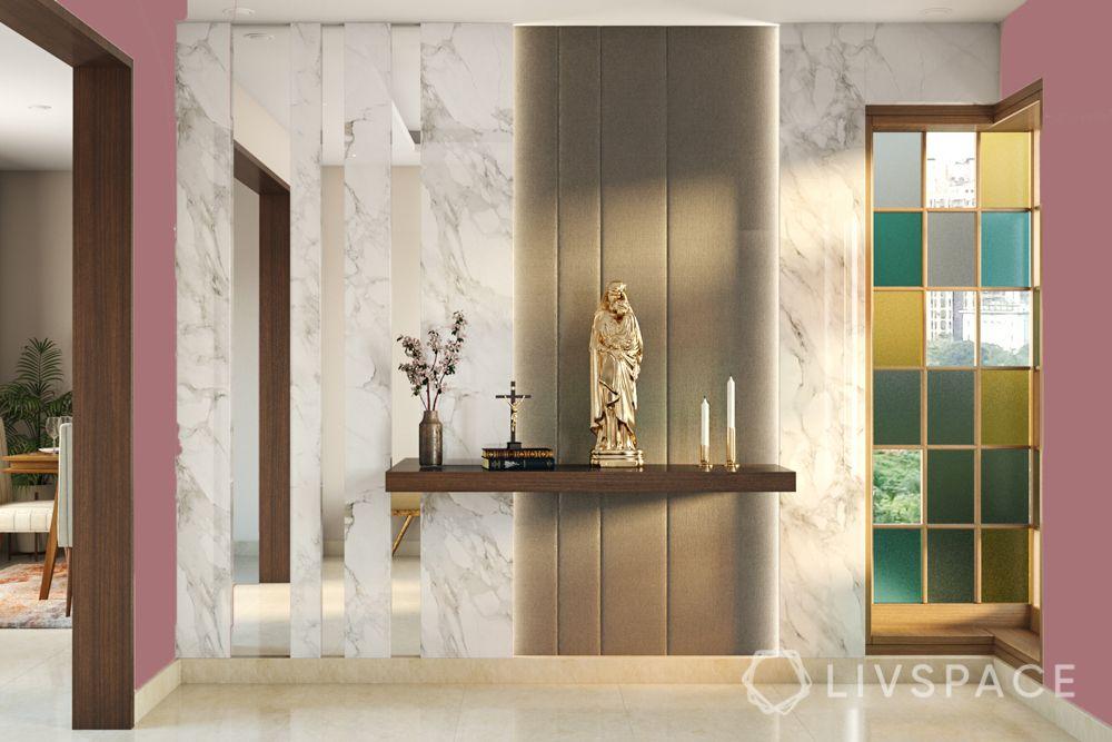 home altar design-grey wall paneling-floating shelf designs