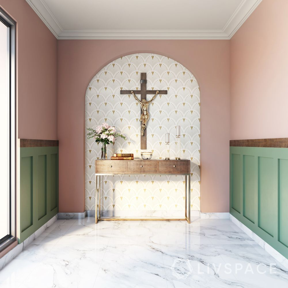 christian altar-white wallpaper-pink wall paint