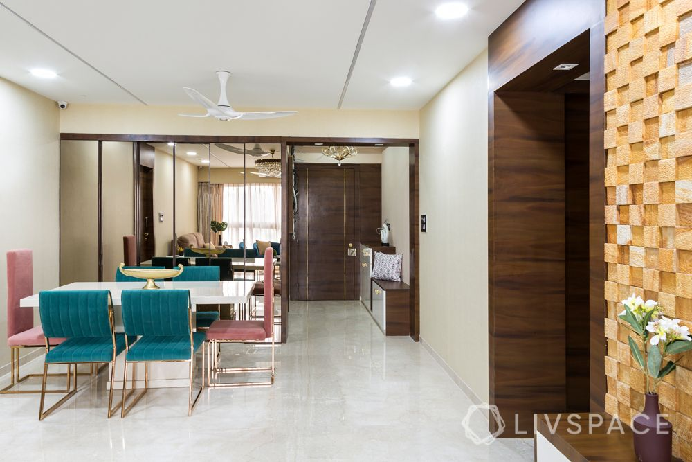 stylish home design-velvet chairs-mirror doors