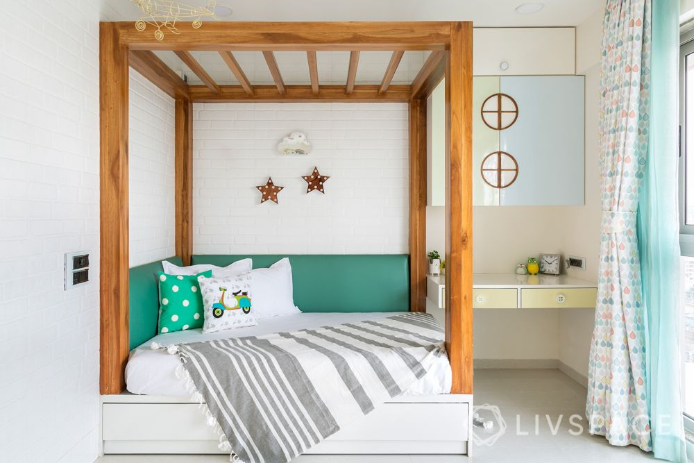 stylish home design-four poster bed-wooden fram bed-green pink yellow pastel wardrobes