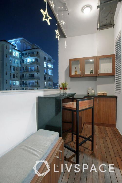 balcony furniture ideas-bar chair-benches-balcony lights