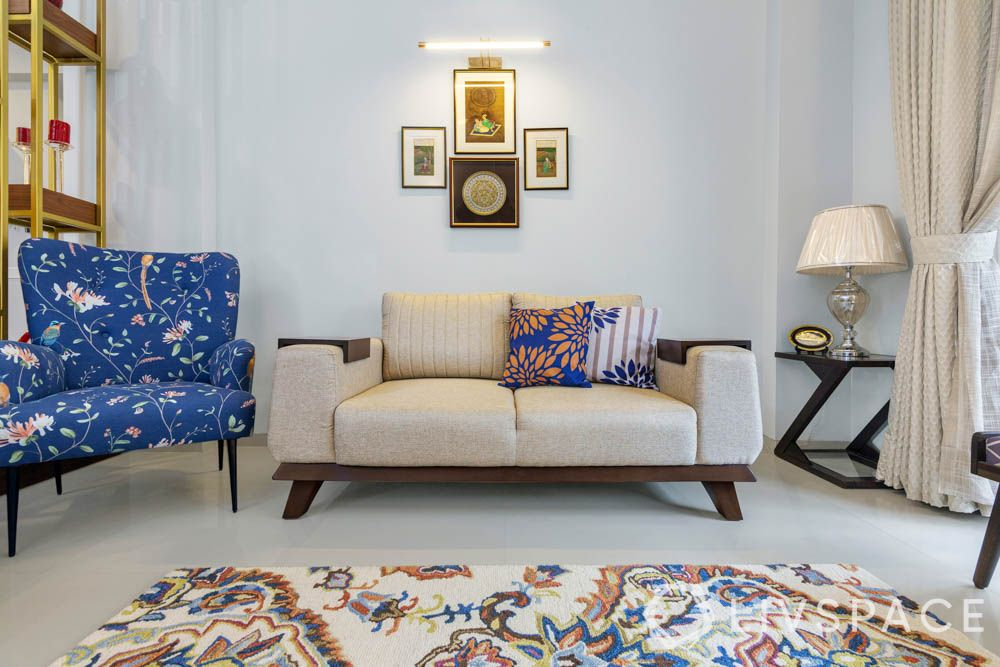 sofa material-wool fabric-pattern chair-blue cushions
