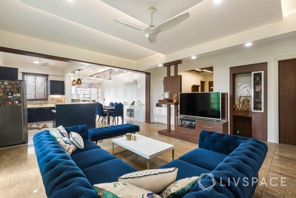 4bhk house design-blue sofa designs-l-shaped sofa