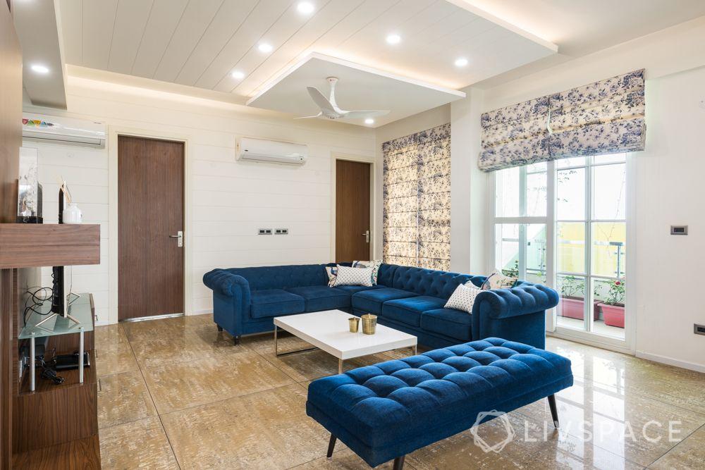 4bhk house design-blue sofa designs-blue bench