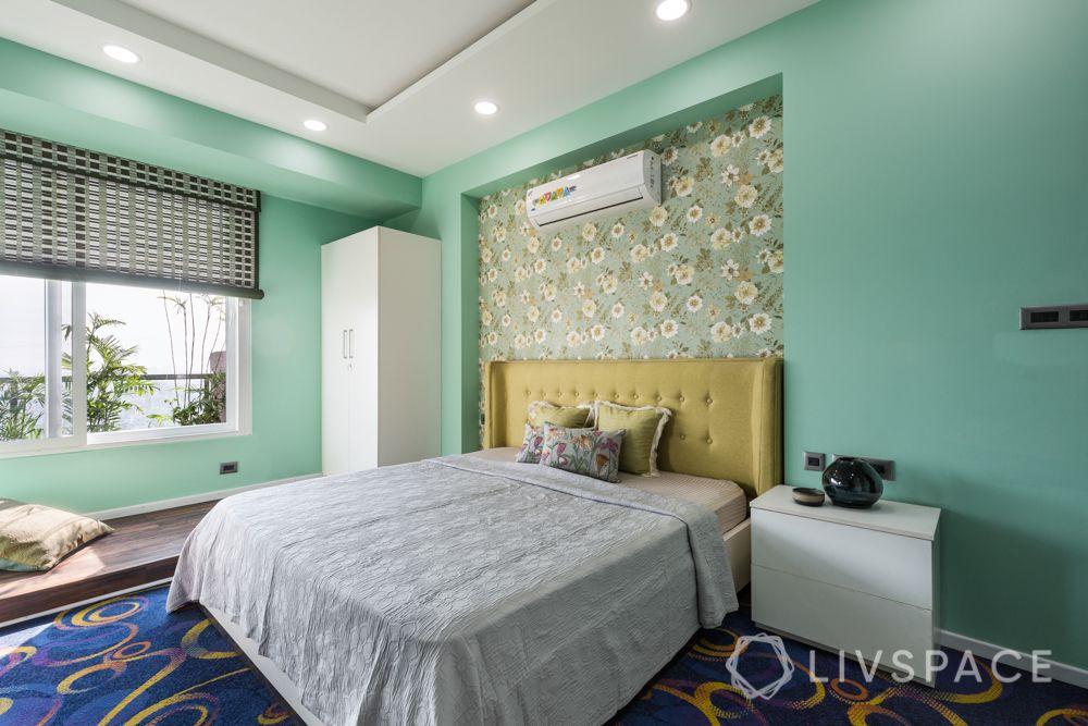 4bhk house design-yellow headboard design-green wall paint
