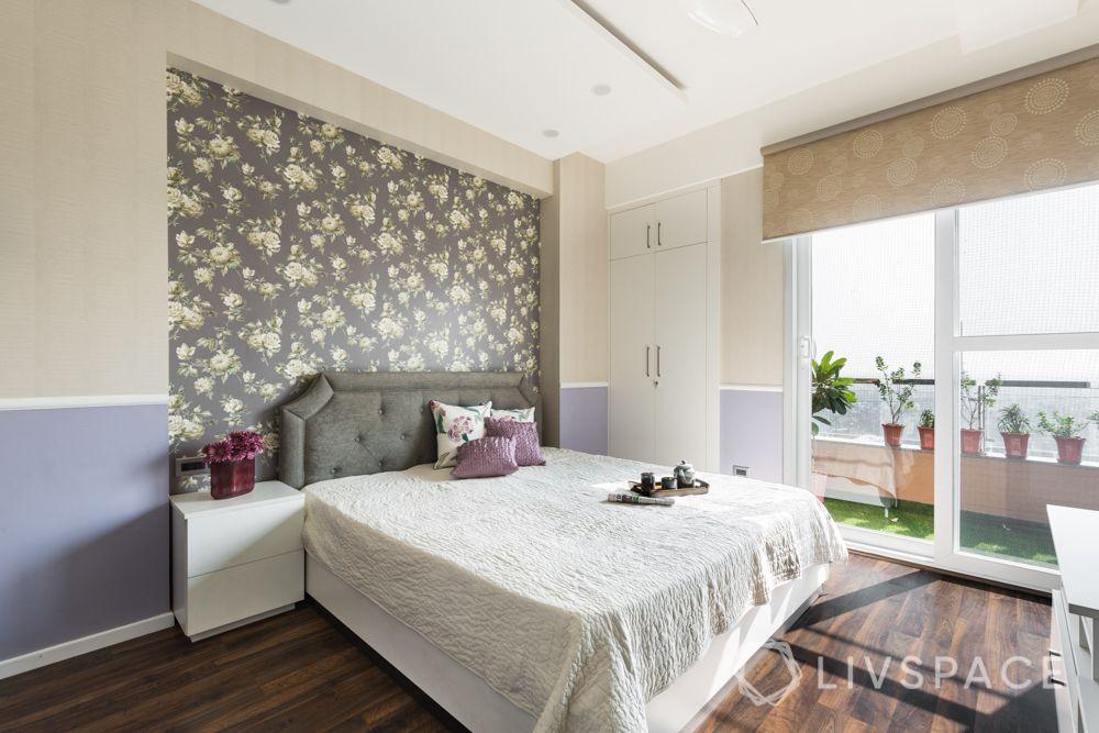 4bhk house design-grey headboard design-wooden flooring design