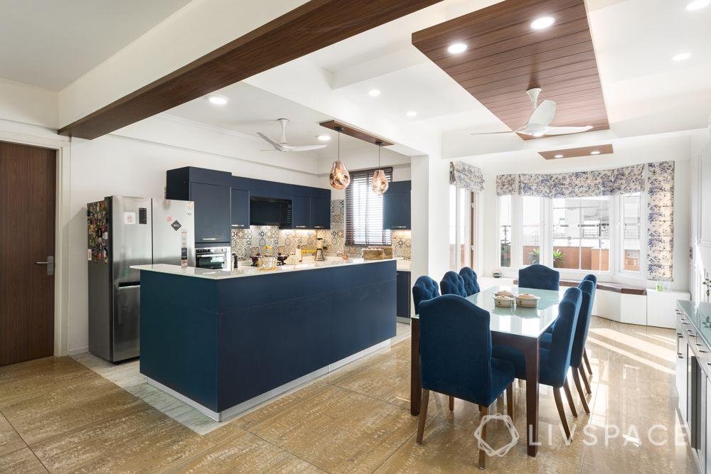 4bhk house design-blue kitchen-island kitchen