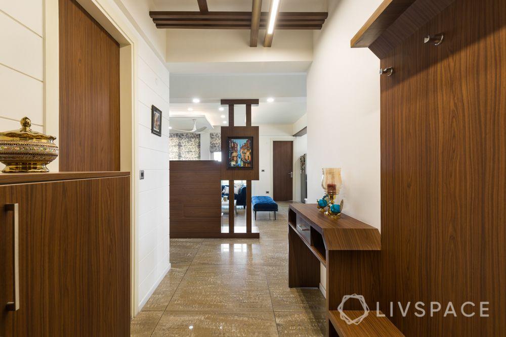 4bhk house design-wooden shoe rack-laminate partition