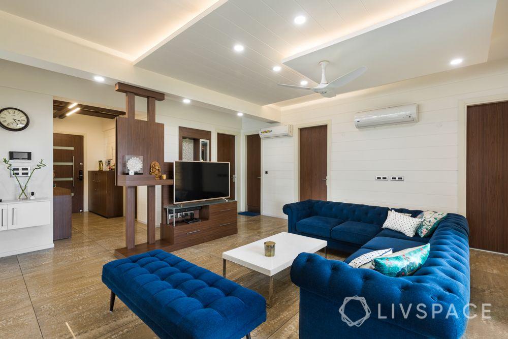 blue sofa designs-tv unit designs