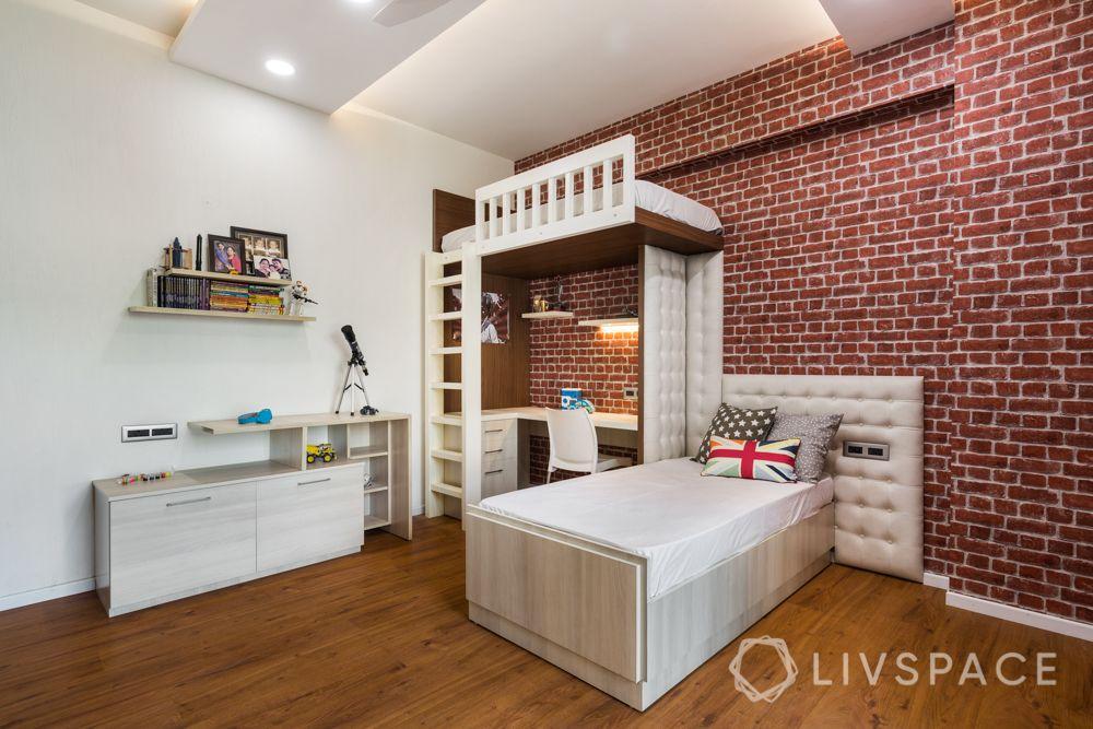 bunk bed designs-exposed brick wallpaper