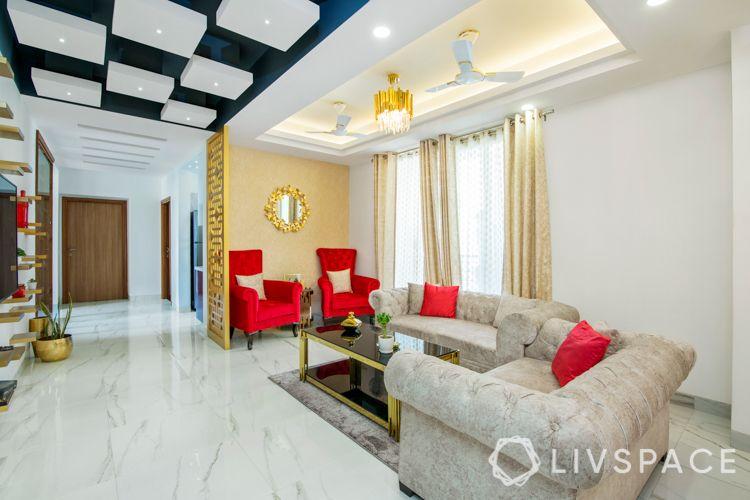 false ceiling designs-red armchair designs